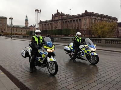Policemen outside Swedish Parliament